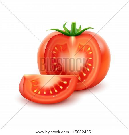 Vector Big Ripe Red Fresh Cut Tomato Close up Isolated on White Background