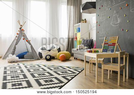 Bright And Spacious Child Room Idea