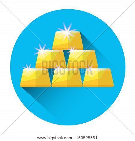 Gold Bricks Investing Icon Flat Vector Illustration