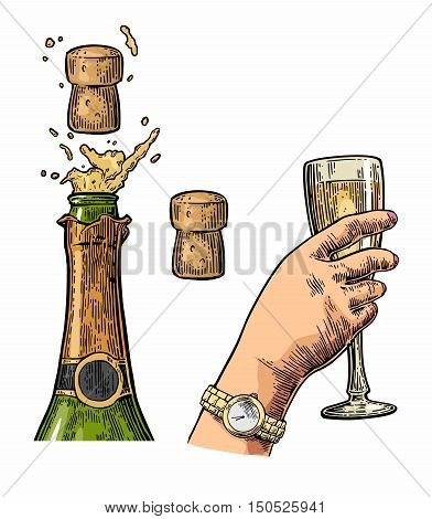 Bottle of Champagne explosion with cork and hand hold glass. Vintage color vector engraving illustration for web poster invitation to beer party. Hand drawn design element isolated on white background.