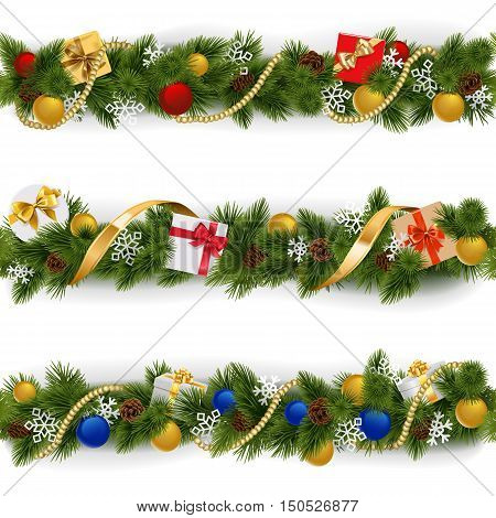 Vector Christmas Border Set 5 isolated on white background