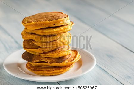 Stack Of Pumpkin Pancakes On The Plate