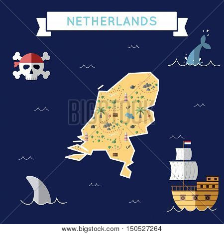 Flat Treasure Map Of Netherlands. Colorful Cartoon With Icons Of Ship, Jolly Roger, Treasure Chest A