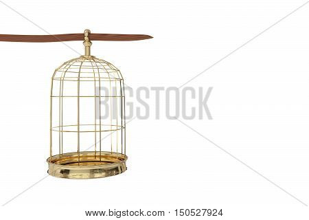 3D rendering of a golden bird cage on white background freedom concept