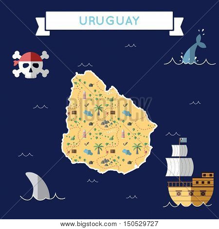 Flat Treasure Map Of Uruguay. Colorful Cartoon With Icons Of Ship, Jolly Roger, Treasure Chest And B