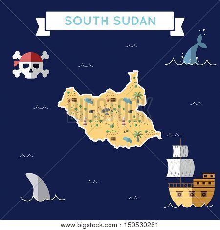 Flat Treasure Map Of South Sudan. Colorful Cartoon With Icons Of Ship, Jolly Roger, Treasure Chest A
