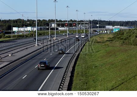 ST. PETERSBURG, RUSSIA - JULY 9, 2016: Traffic on the Saint Petersburg Ring Road. 142 km orbital freeway encircling the city was completed in 2011
