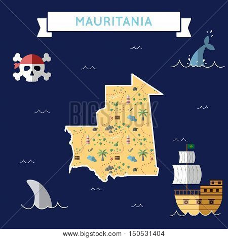 Flat Treasure Map Of Mauritania. Colorful Cartoon With Icons Of Ship, Jolly Roger, Treasure Chest An