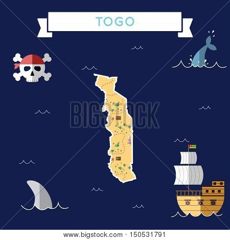 Flat Treasure Map Of Togo. Colorful Cartoon With Icons Of Ship, Jolly Roger, Treasure Chest And Bann