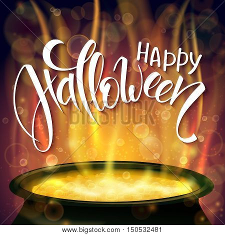 vector halloween poster with hand lettering greetings label - happy halloween - with boiling witch cauldron on background.