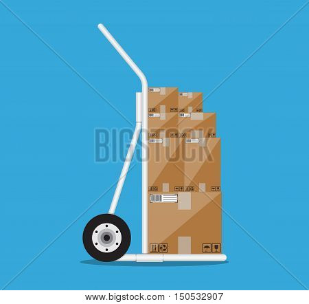 Metallic hand truck. delivery. hand truck icon. hand truck with brown boxes. vector illustration in flat design on blue background