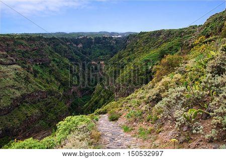 Barranco de Ruiz is beautiful ravine of Tenerife for trekking. Canary Islands Spain.