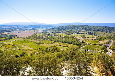 View on provencal village roof and landscape, Provence, France. On sunny summer day.