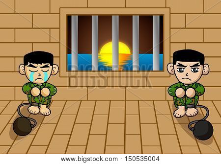 art prisoner army man in cage cartoon illustration