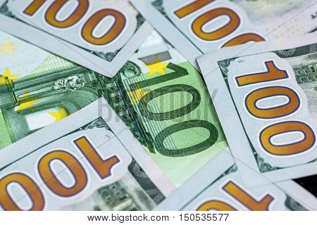 100 us dollar and 100 euro banknotes