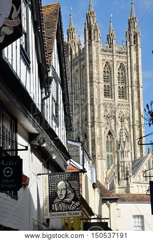 Canterbury United Kingdom - September 30 2016: Canterbury Cathedral seen from side street