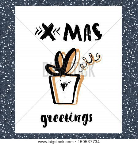 Christmas trendy design greeting card. Holiday winter template with handwritten lettering made with dry brush. X mass vector background with gift