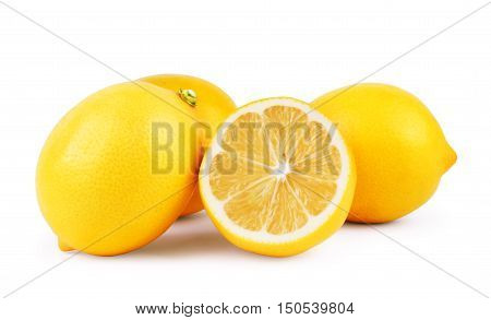 Lemons. Fresh ripe lemons isolated on white background. Lemon in a cut