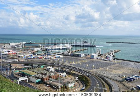 Dover United Kingdom - October 1 2016: Overlooking Dover Harbour from Castle