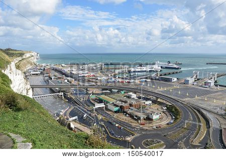 Dover United Kingdom - October 1 2016: Overlooking Dover Harbour Channel port
