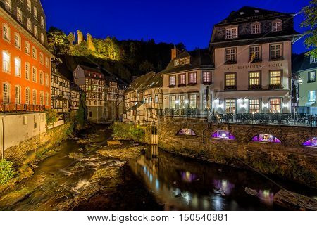 Traditional houses in the historic town of Monschau, Germany
