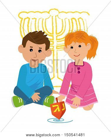 Boy and a girl are playing with dreidel. Eps10