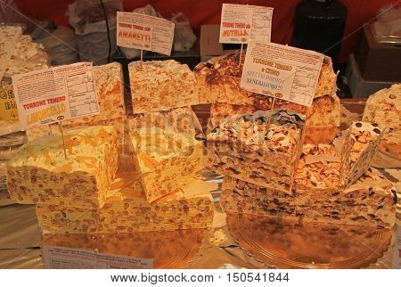 Udine Italy - November 20 2015: stand with sweets at the christmas fair in Udine Italy