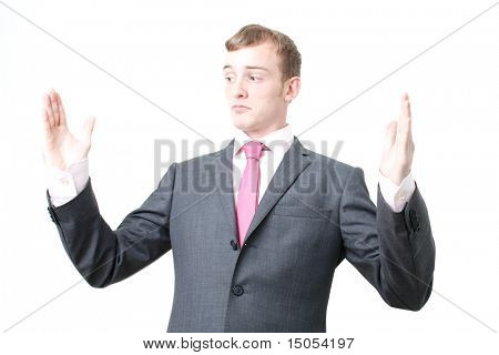 A business man bragging about the size of something