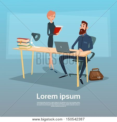 Businessman Sitting Office Desk Businesswoman Give Paper Secretary Apply Job Interview Candidate Flat Vector Illlustration
