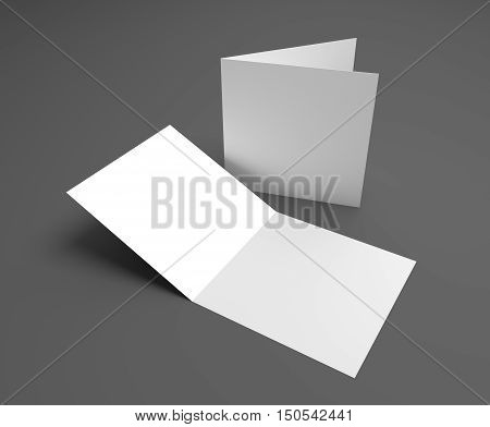 Blank square two-leaf greeting card on dark gray background. 3d illustration mockup. Opening and cover showing.