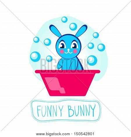 Bathing newborn. Little smiling cute bunny with big eyes sitting in basin with soap bubbles isolated. Vector cartoon baby character. Icon Logo for baby store.
