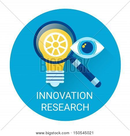 Innovation Research Icon Light Bulb New Idea Flat Vector Illustration