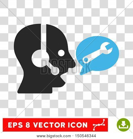 Vector Operator Service Message EPS vector icon. Illustration style is flat iconic bicolor blue and gray symbol on a transparent background.