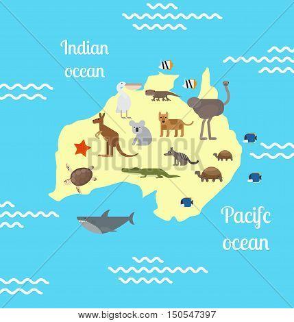 Animals world map for children. Australia. Vector illustration