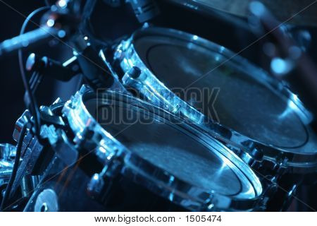 Drum Set, Lit By Blue