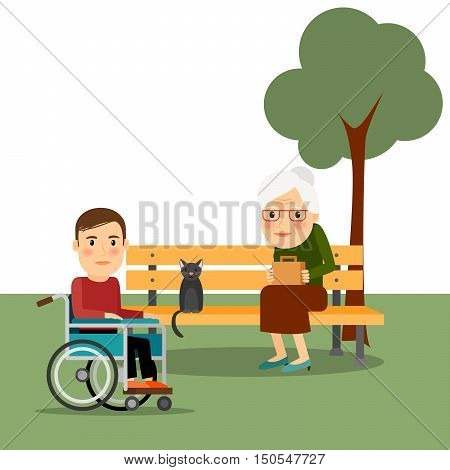 Disabled man on wheelchair in the park vector illustration