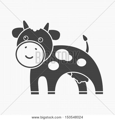 Cow black icon. Illustration for web and mobile.