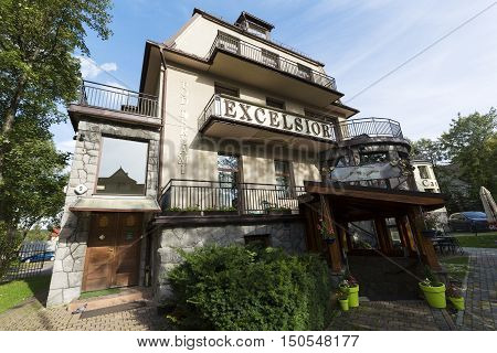 ZAKOPANE POLAND - SEPTEMBER 23 2016: Guest house that is named Pod Berlami it is also known as the Villa Excelsior. The building was built in second quarter of the twentieth century.
