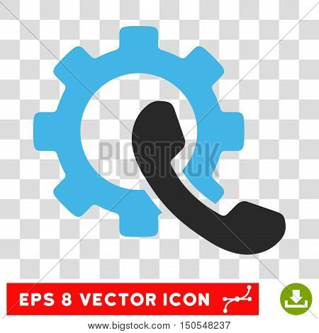 Vector Phone Configuration Gear EPS vector pictogram. Illustration style is flat iconic bicolor blue and gray symbol on a transparent background.