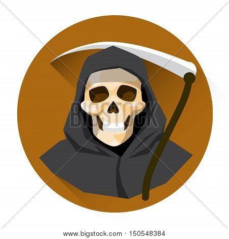 Grim Reaper Skeleton Hold Scythe Halloween Holiday Icon Flat Vector Illustration