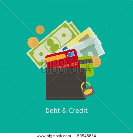 Debt and Credit cartoon vector illustration with wallet