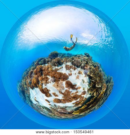 Panorama in the form of sphere of the lady freediver exploring the tropical sea with corals