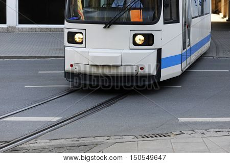 Streetcar in jena germany crossing the street