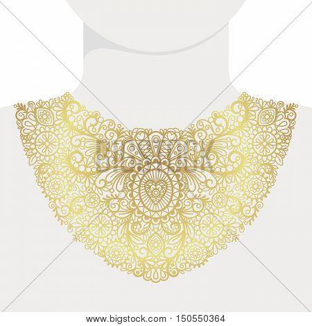 Fashion decorative golden neck print, vector illustration