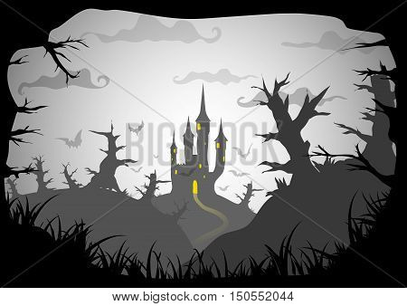 Halloween black and white poster spooky castle horizontal a3 a4 format size vector background