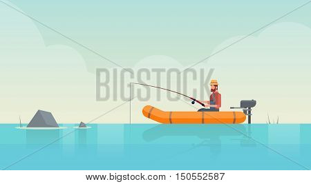 Man Fishing In Boat On Pond Flat Vector Illustration