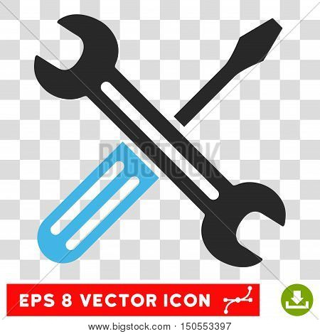Vector Spanner and Screwdriver EPS vector pictogram. Illustration style is flat iconic bicolor blue and gray symbol on a transparent background.