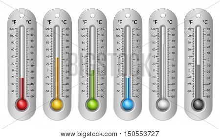 Different Colors Thermometers with Celsius and Fahrenheit Scale. Vector Illustration