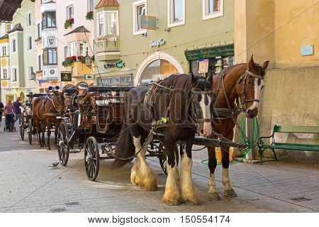 KITZBUEHEL, AUSTRIA - SEPTEMBER 2016 : Horse drawn carriage with Gypsy Horse that has white feather furs on the lower legs standing outside the buiildings in Kitzbuhel, Austria on September 27, 2016