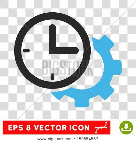 Vector Time Setup EPS vector icon. Illustration style is flat iconic bicolor blue and gray symbol on a transparent background.